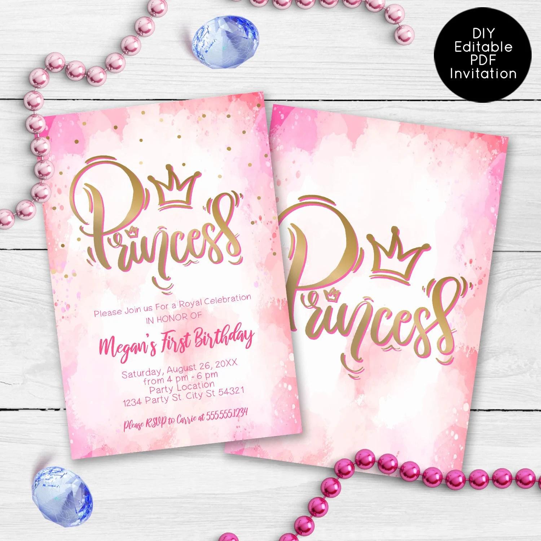 Pink Princess Party Invitations Princess Birthday Invitation Etsy