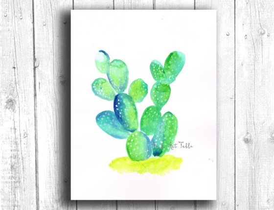 Cactus Watercolor Digital...