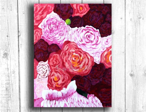 Pink Bouquet Painting, Di...