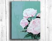 Pink Peonies Painting, Di...