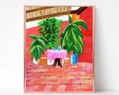 Tropical Patio Painting Digital download, Printable original art, Digital 8x10 art printable