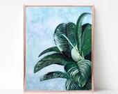 Tropical Leaf Painting Digital download, Printable original art, Digital 8x12 art printable, Beach art