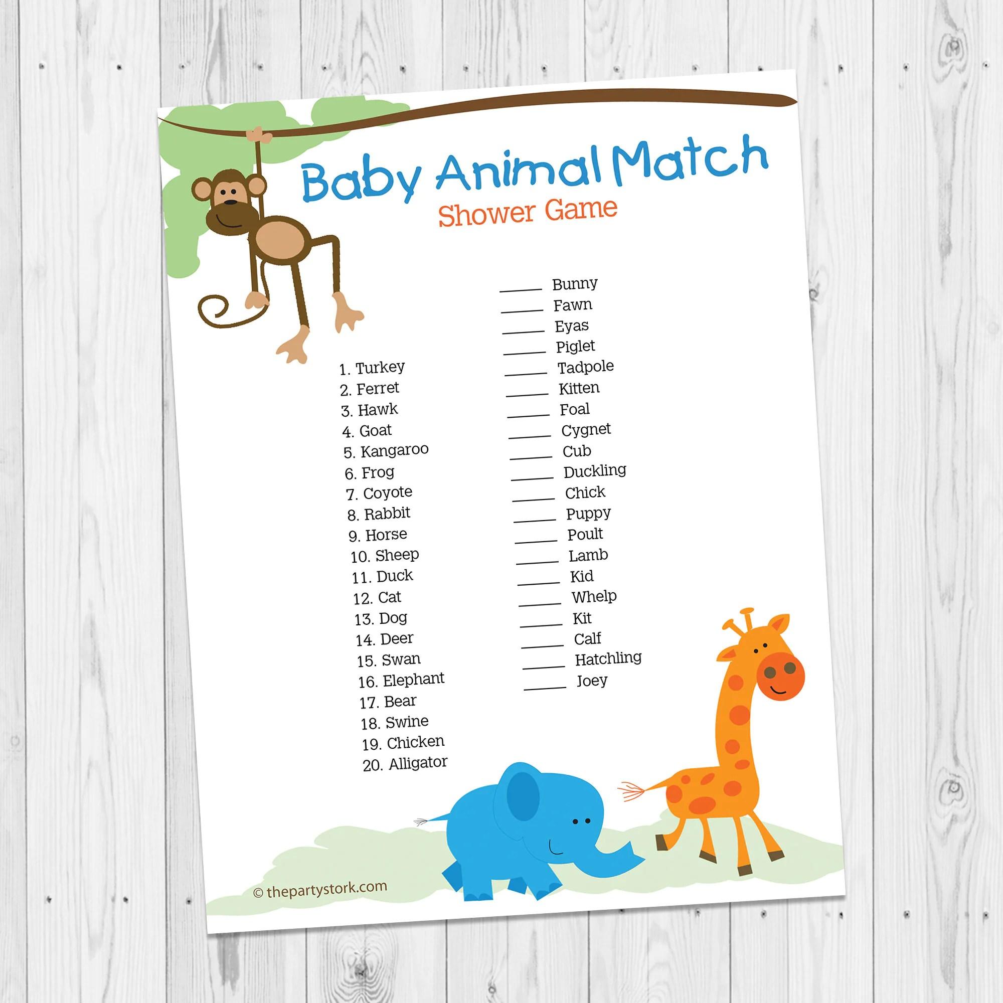 Safari Baby Shower Games Printable Baby Animal Match Game