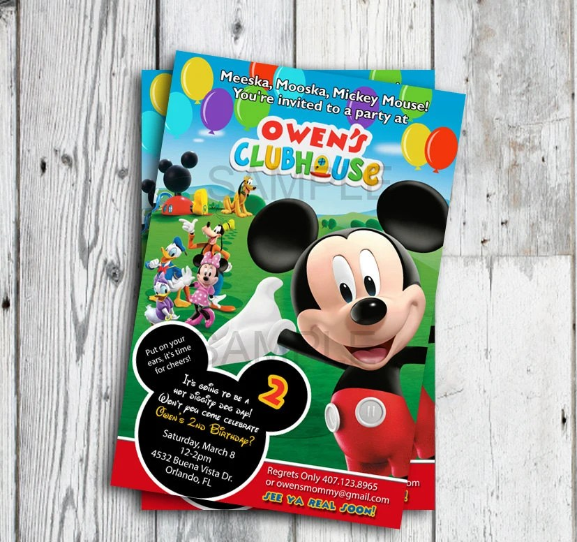 Mickey Mouse Birthday Invitation Mickey Mouse Clubhouse Etsy