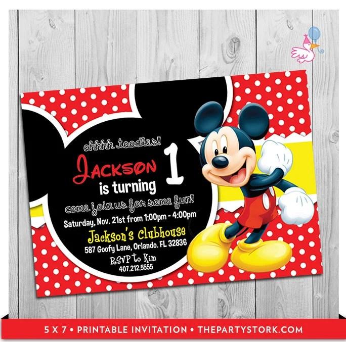 Mickey Mouse Party Invitations Printable Boy 1st Birthday Etsy