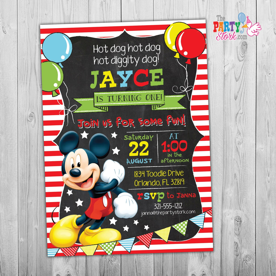 mickey mouse birthday invitation mickey mouse birthday invitation mickey mouse invitation first birthday party invitation boy