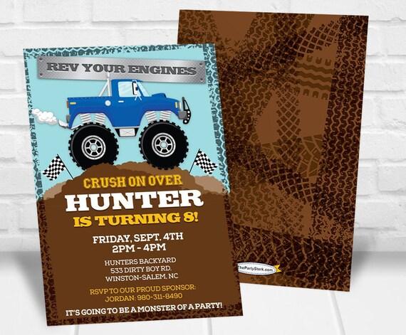 monster truck invitation monster truck