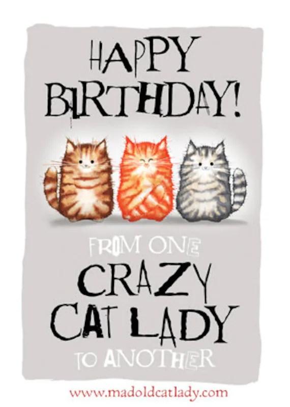 Crazy Cat Lady Birthday Card Etsy