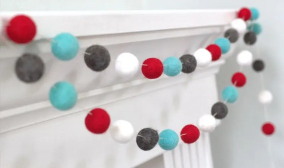 Blue Charcoal White Felt Garland