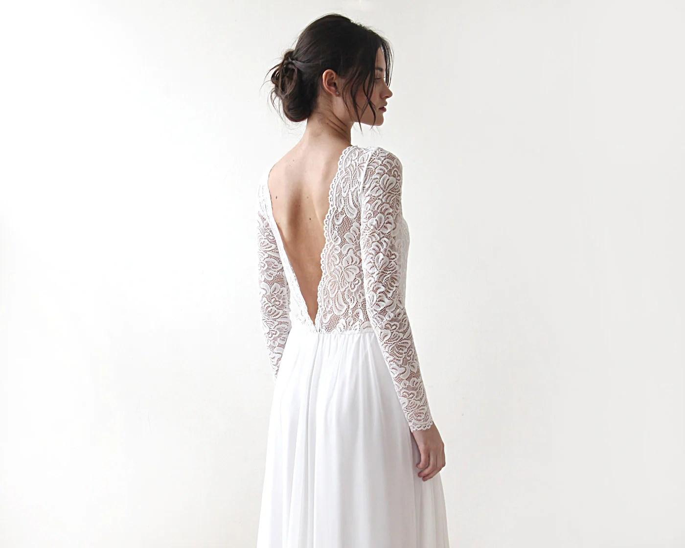 Ivory Boho Open Back Dress Deep V Shape Bridal Gown Lace