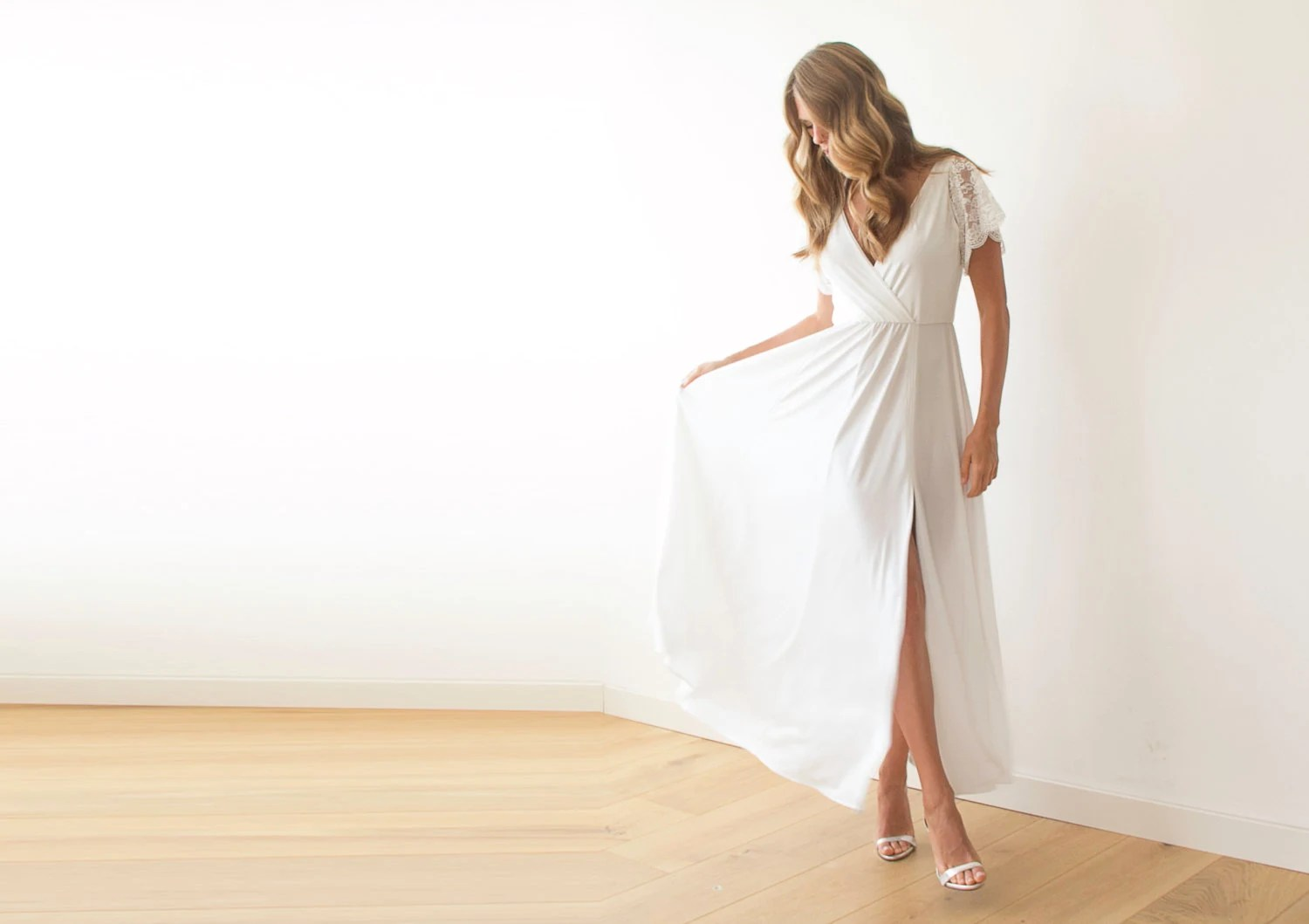 Ivory Wrap Dress With Lace Sleeves Wedding Simple Gown
