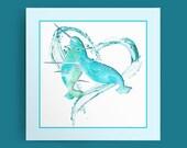 I Love Narwhals: Aqua Sea - digital download, Narwhal Art, Narwhal Print, Narwhal Decor