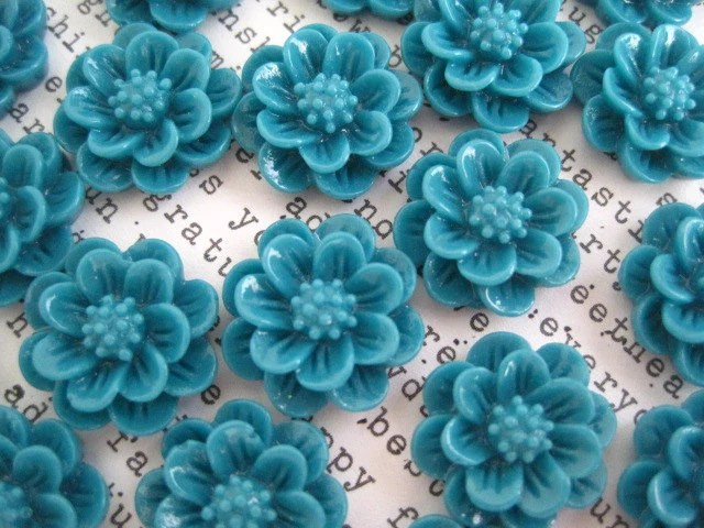 Teal flowers   Etsy 15mm Dark Teal Flower Cabochons   10 to 20 pcs   Resin Cabochon Flowers    Flat Backs   No Holes