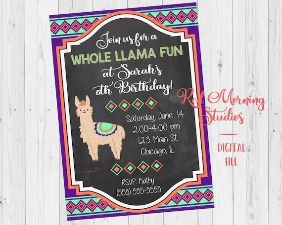 Llama Birthday Invitation Printable Llama Birthday Party Alpaca Birthday Invitation Peru Birthday Invitation Trendy Birthday Theme
