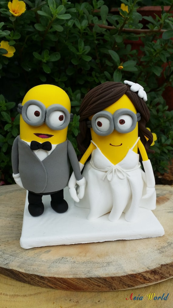 Minions wedding cake topper clay doll Minion in suit clay   Etsy image 0