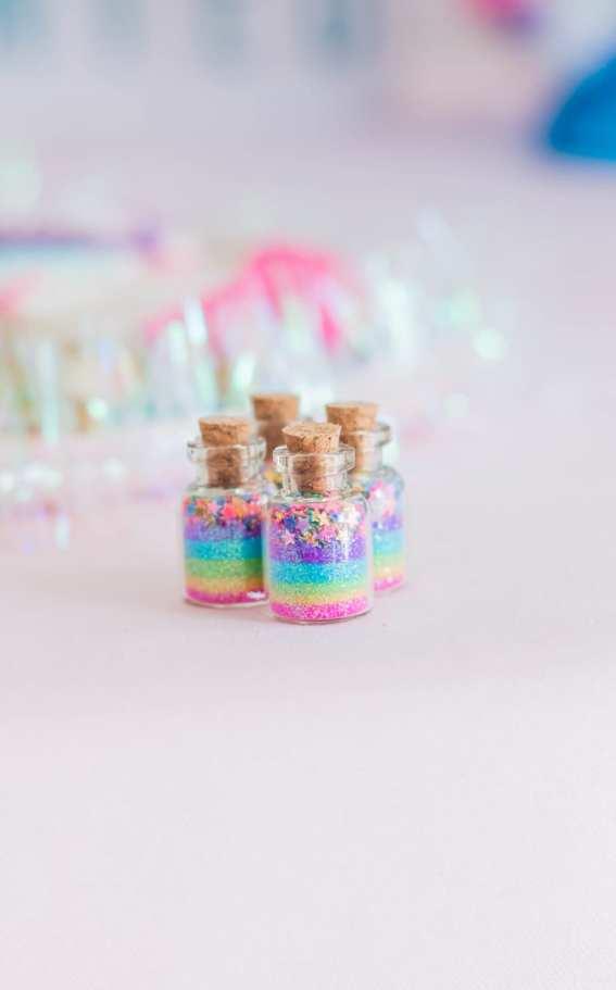 Unicorn party ideas, unicorn favor jars