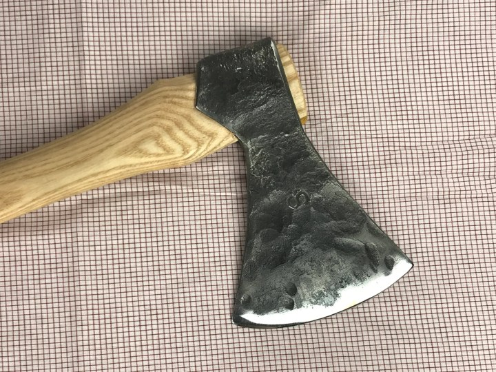 Hand forged axe.  ax with...