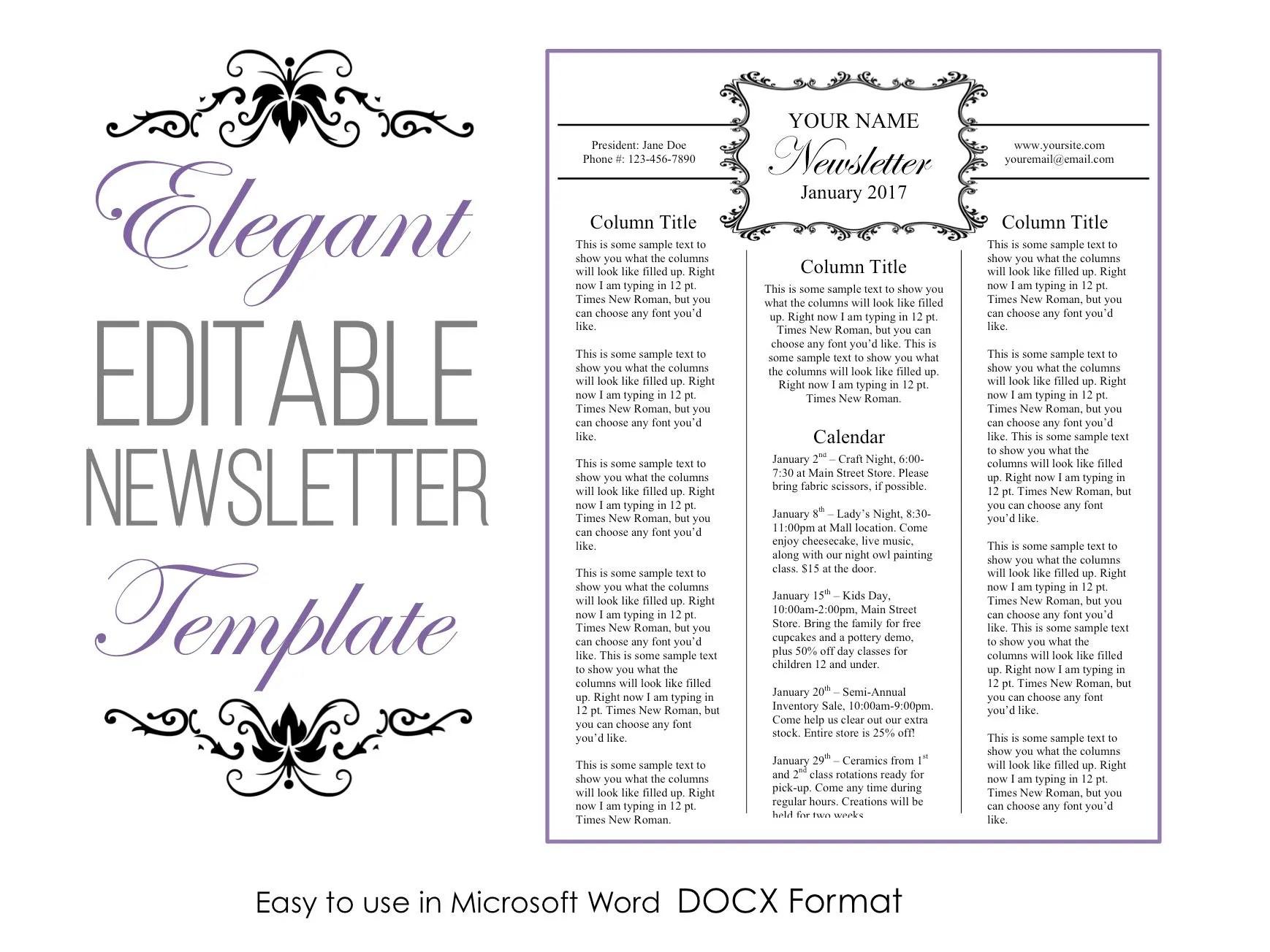 Newsletter Template For Microsoft Word Elegant Editable