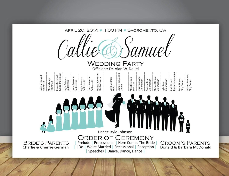 Silhouette Wedding Program Printable Wedding Program