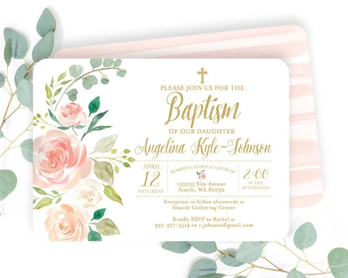 blush pink and gold floral baptism
