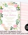 Blush Pink Floral Bridal Shower Invitation Template Printable Etsy