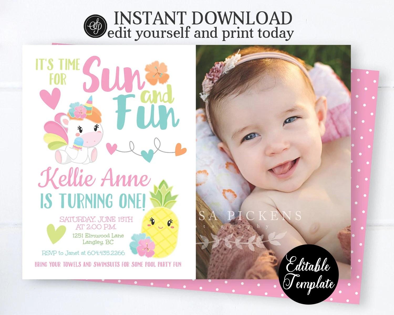 unicorn 1st birthday invitation summer