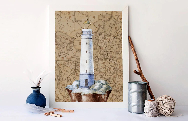 Vintage Nursery Art Nautical Lighthouse Nautical Map Art Sea Life Decor Nautical Bathroom Decor Nautical Kids Bedroom Wall Art A 1243
