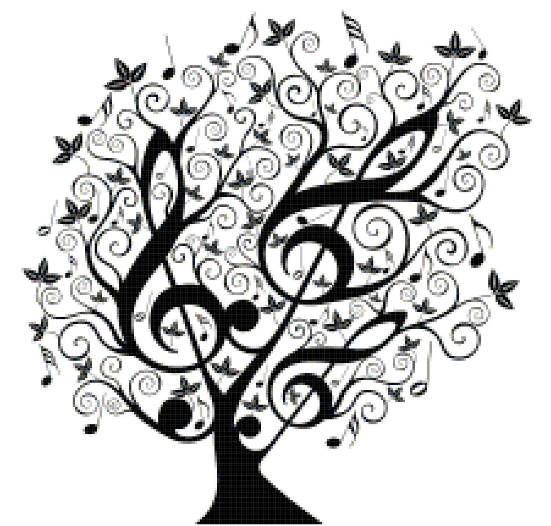 Music Treble Clef Tree Counted Cross Stitch Pattern Chart