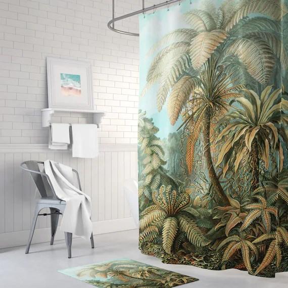 jungle shower curtain botanical shower curtain botanical decor tropical shower curtain