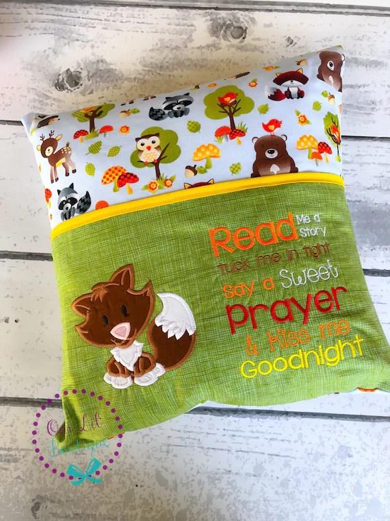 fox reading pillow kids reading
