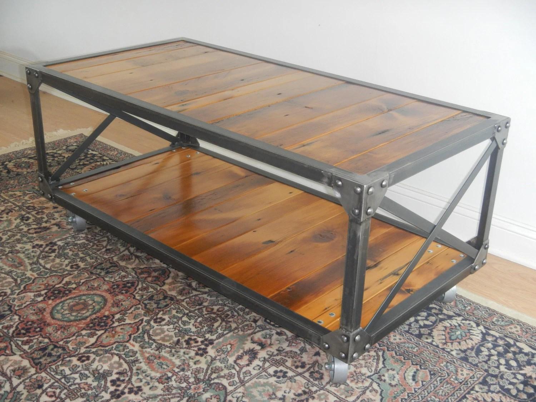industrial style welded steel and reclaimed wood coffee table rustic castors wood and steel