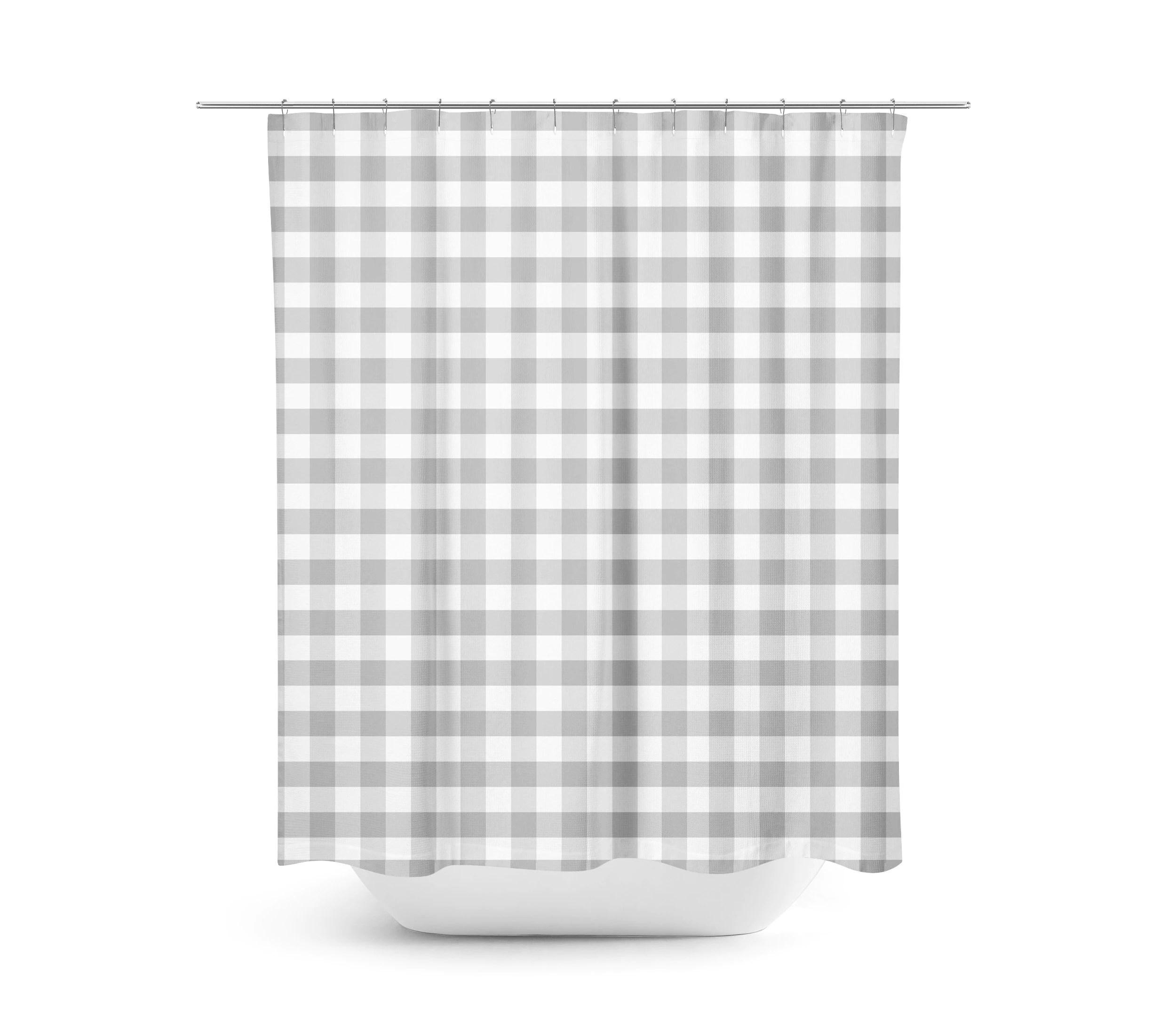 Gray Gingham Shower Curtain Farmhouse Bathroom Decor Gray Shower Curtain Country Decor Fabric Shower Curtain Plaid Gray And White