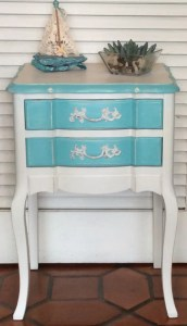 White Turquoise Green Nightstand French Style 1950s