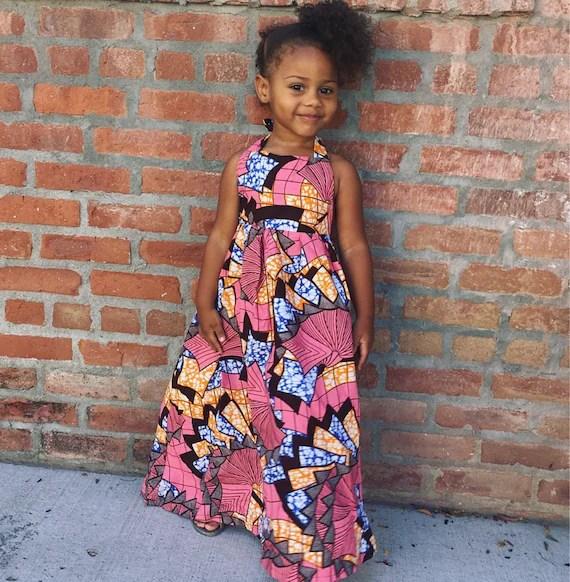 Little Girls Ankara African Print Boho Maxi Dress Pink Etsy