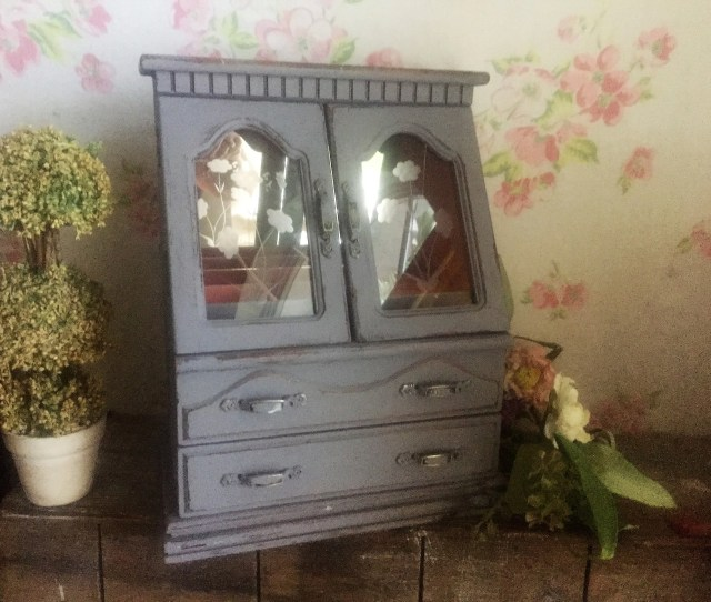 On Sale Vintage Jewelry Armoire Hand Painted Shabby Chic Vintage Gray