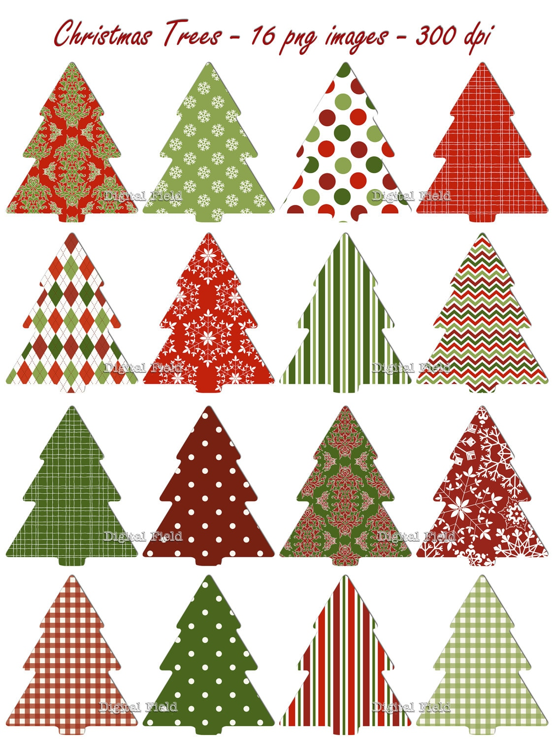 Christmas Tree Clip Art Set Red Green Patterned Holiday