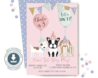 dog party invitation etsy