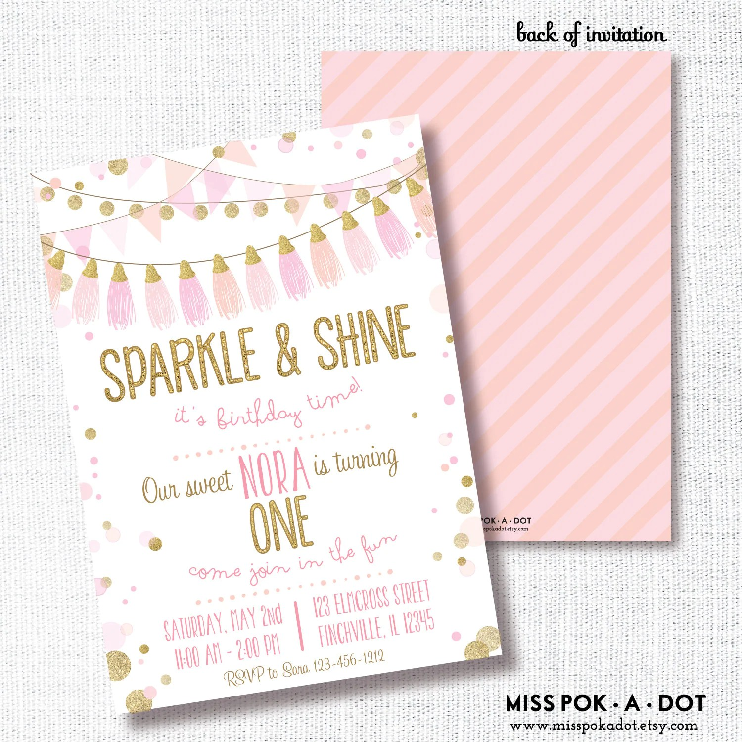 Sparkle And Shine Birthday Party Invitation Printable Pink