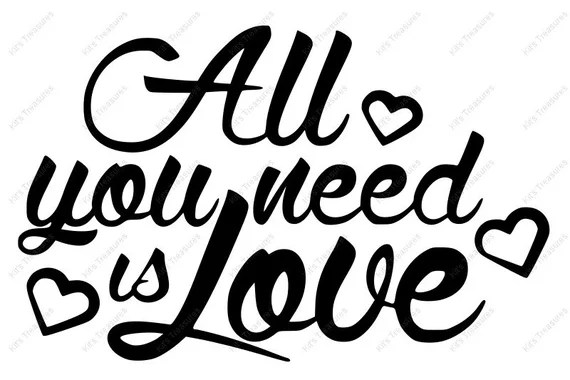 Download All You Need Is Love SVG DXF PNG Cut File Design for | Etsy