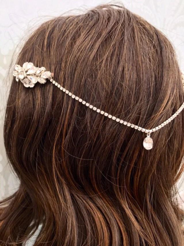 head chain hair jewellery art deco headpiece , 1920s , bridal hair accessory, silver or gold
