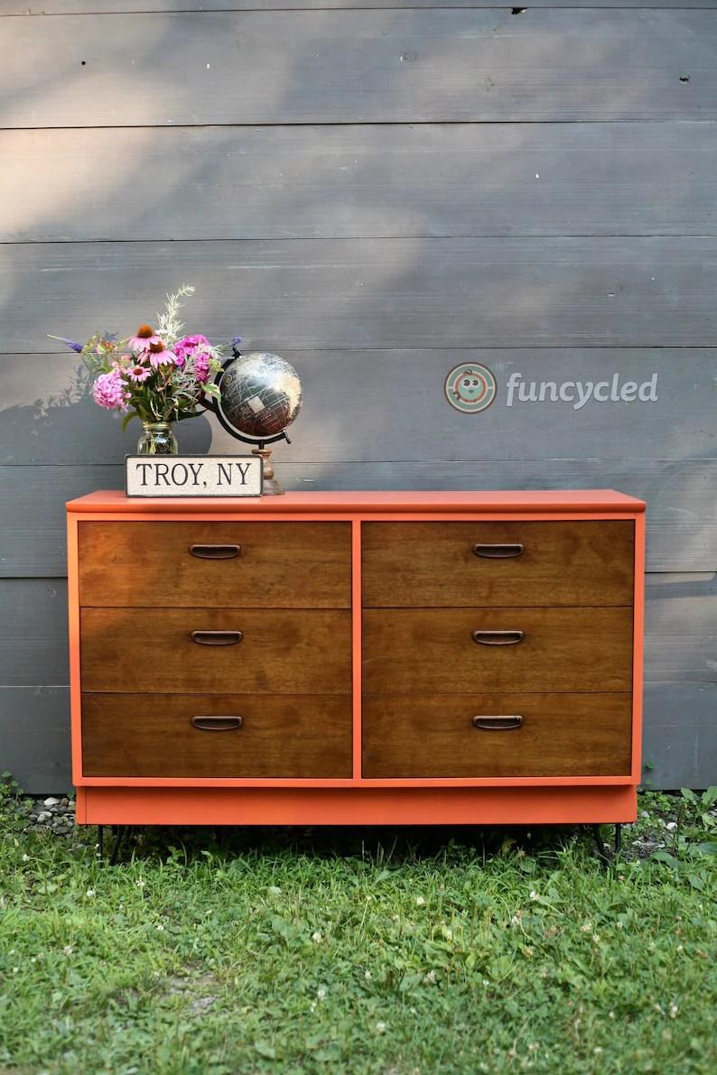 Burnt Orange Mid Century Dresser With Hairpin Legs