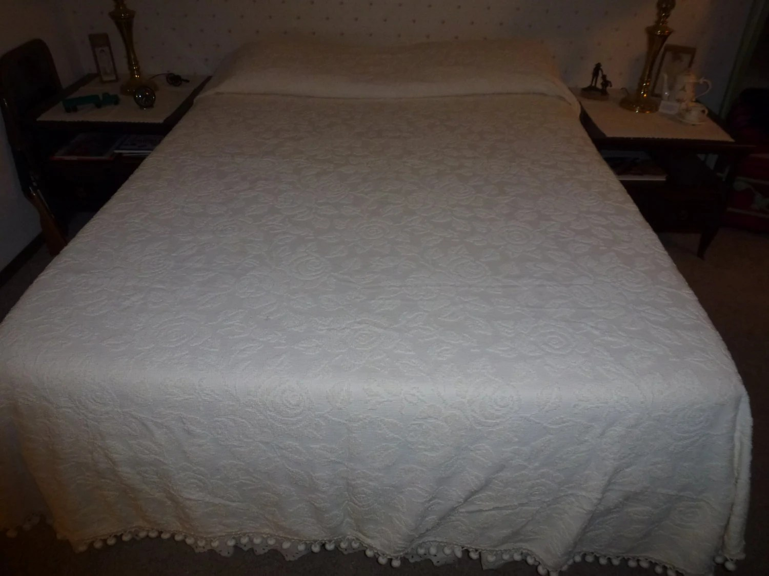 off white bedspread etsy