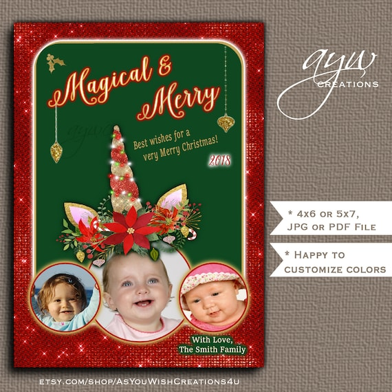 Unicorn Photo Collage Holiday Greeting Card For Christmas