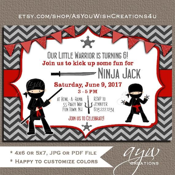 ninja birthday party invitation boy or