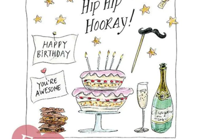 Birthday Card Cake And Stars Cake With Candles Hip Hip Etsy