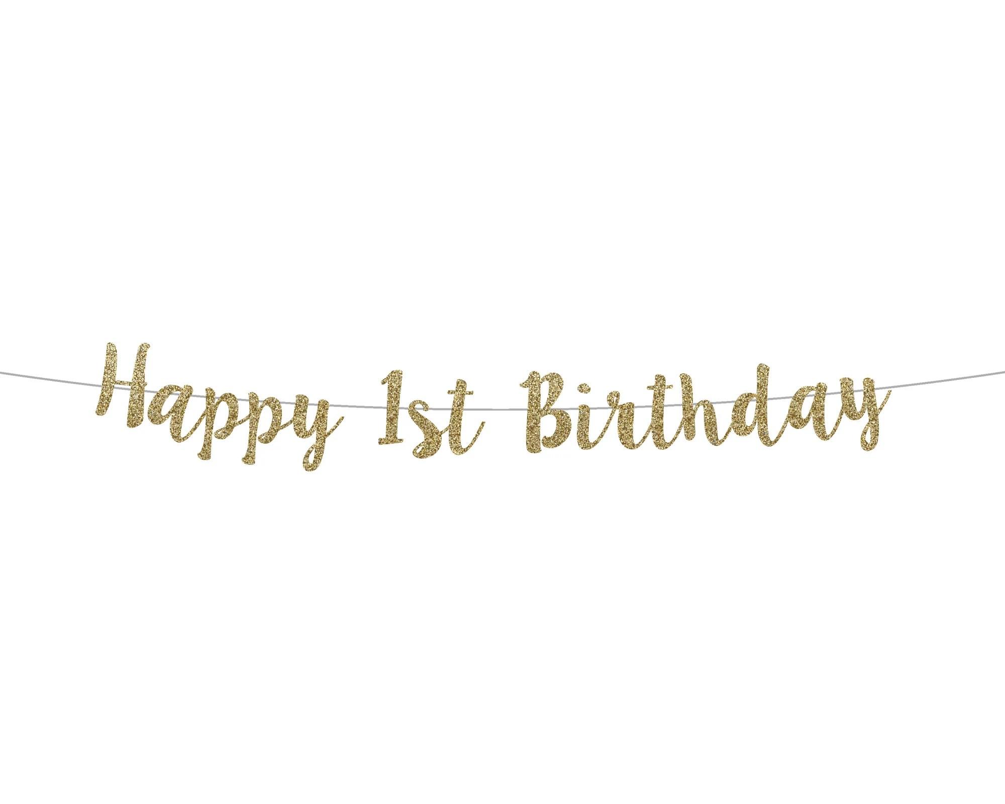 Happy 1st Birthday Banner Cursive Banner Birthday Etsy