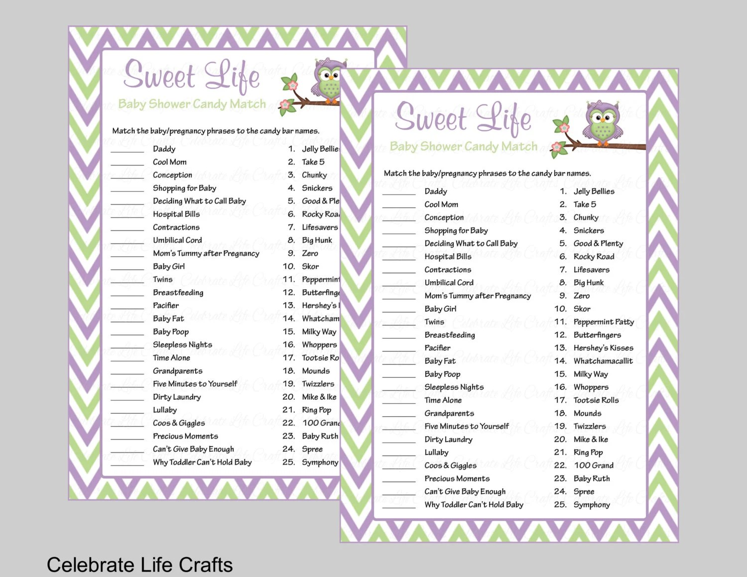 Baby Shower Sweet Life Candy Bar Match Game With Answer