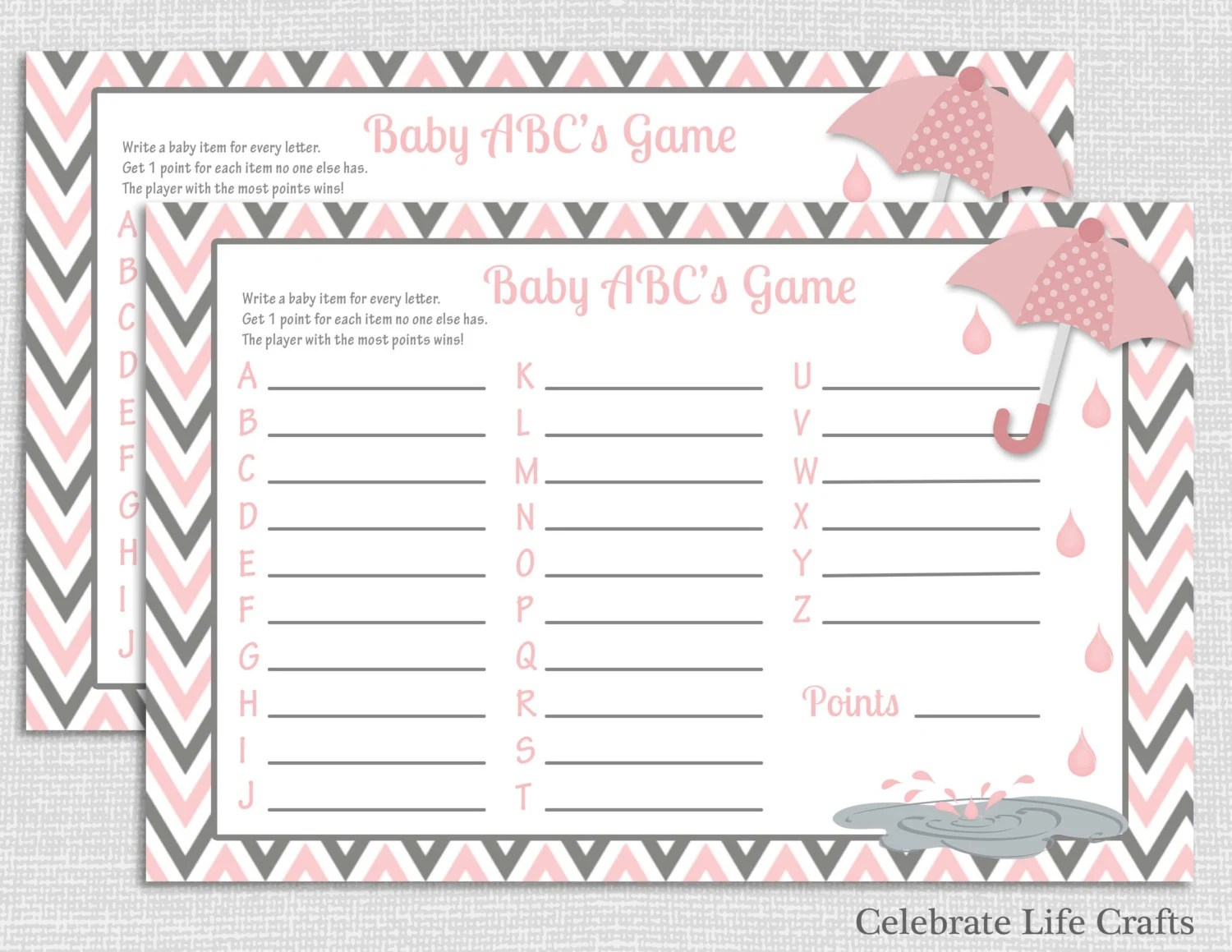 Pink Baby Shower Baby Abc Baby Shower Game Diy Printable