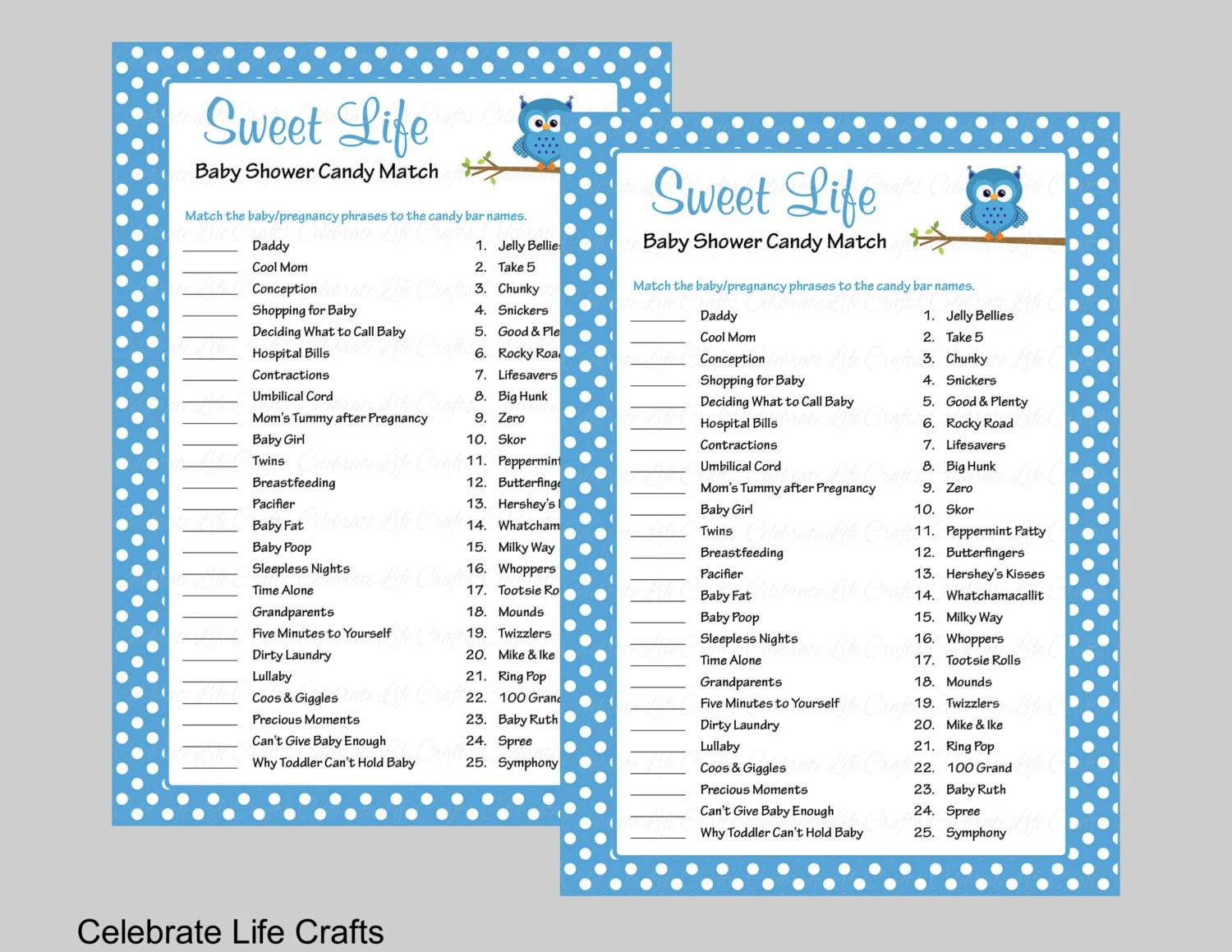 Sweet Life Baby Shower Game With Answer Key Printable