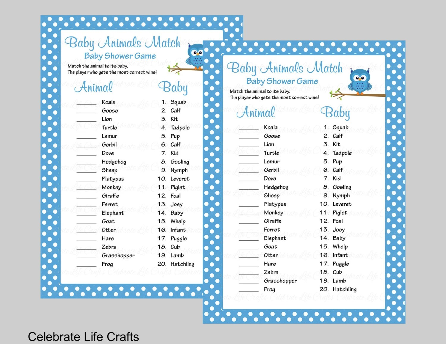 Baby Animals Match Game With Answer Key Printable Baby